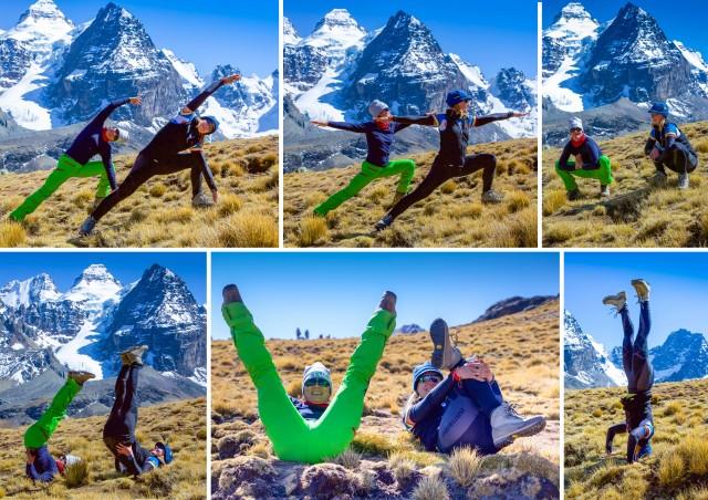 Joogahetki Bolivian vuoristossa, alkuperäiset kuvat Päivi Hyvärinen